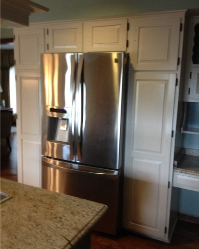 Finish Painted Custom Kitchen Cabinets Around Appliances