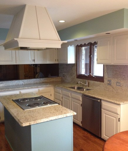 Finish Painted Kitchen Walls Ceiling Cabinets Complete