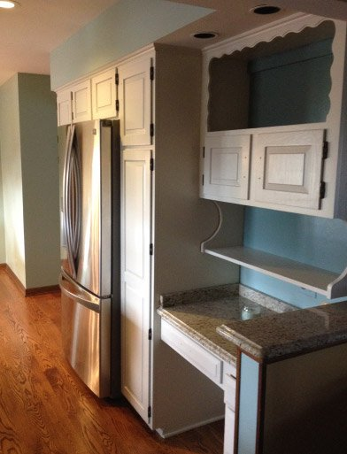 Finish Painted Kitchen Cabinets Around Appliances Desk Hutch Areas