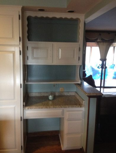 Finish Painted Kitchen Cabinets Around Desk Hutch Areas