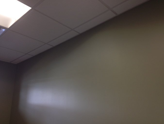 Finish Painted Commercial Wall To Suspended Ceiling Tile