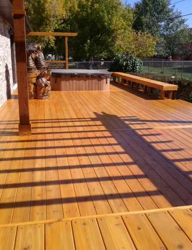 Custom Cedar Stained Deck - Twin Lakes WI
