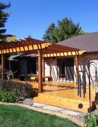Stained Cedar Deck Pergola