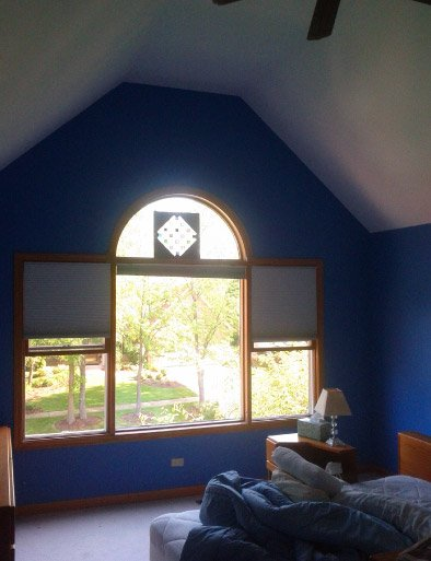 Custom Blue Interior Painting For Bedroom With Tall Ceiling - Palatine IL