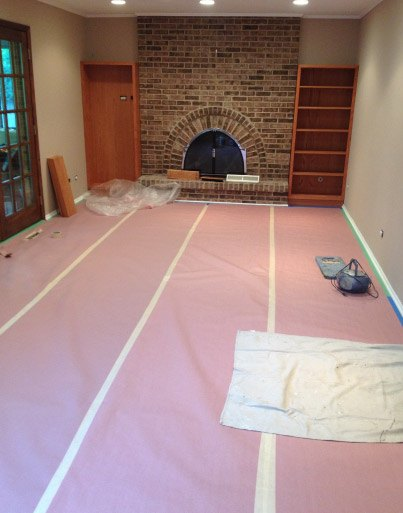 Rosin Paper Protecting Hardwood & All Hard Floor Surfaces Prior To Work Being Done - Libertyville IL