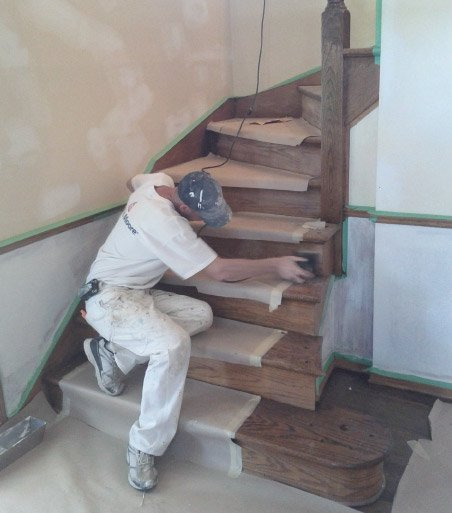Sanding Prepping Stairs for Re-Finishing
